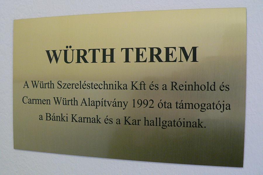 WÜRTH Tanterem avatás és szerződések aláírása a Bánki Karon